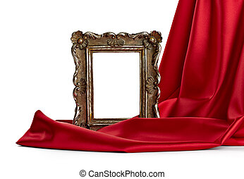 wooden frame and silk cover - close up of a wooden frame...