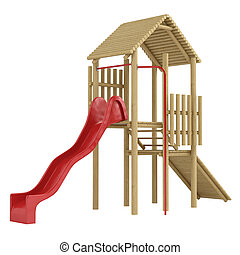 Wooden frame and slide - Wooden frame with steps and a ramp...
