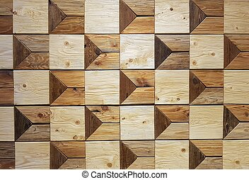 Wooden frame blocks on the wall making a pattern