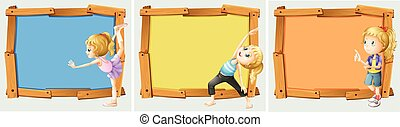 Wooden frame design with girls and yoga
