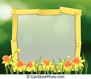 Wooden frame design with yellow flowers