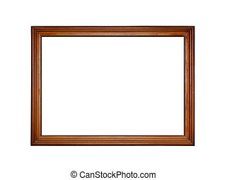 Wooden frame for painting isolated on white