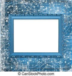 Wooden  frame for photo on the curl ornamental background