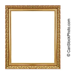 wooden frame - Gold antique frame isolated on white...