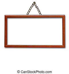 wooden frame hanging on the wall isolated - empty wooden...