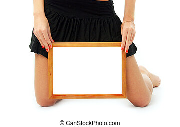 Wooden frame in beautifull hands