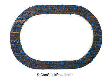 Wooden frame in drops of blue paint on a white background.