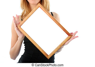 Wooden frame in hands