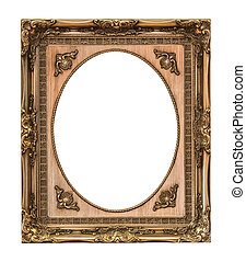 wooden frame isolated with clipping path