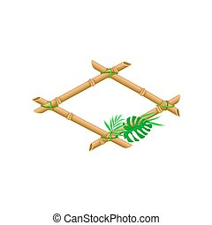 Wooden frame made of bamboo sticks with palm leaf vector Illustration on a white background