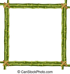 Wooden frame made of green bamboo sticks