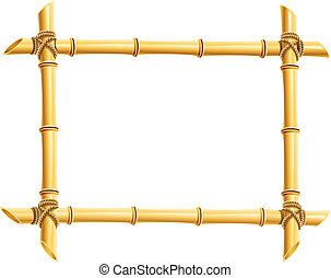 wooden frame of bamboo sticks vector illustration isolated...