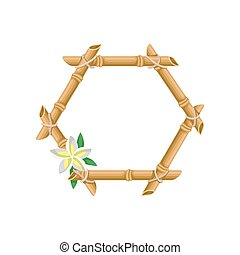 Wooden frame of bamboo with flower vector Illustration on a white background