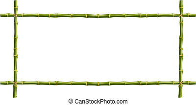 Wooden frame of green bamboo sticks with space for text