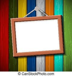 wooden frame on a colored wall