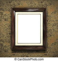 Wooden frame on color wallpaper background. 3D rendering