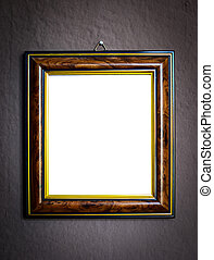 Wooden frame on grunge wall background