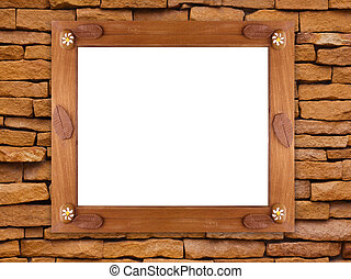 Wooden frame on stone wall