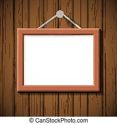 wooden frame on the background of brown wall