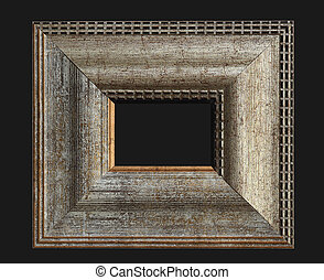 Wooden frame on the black background