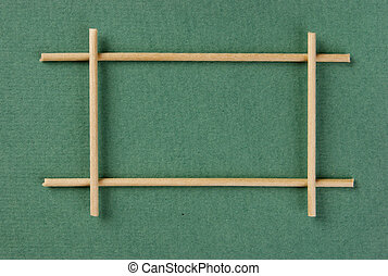 wooden frame on the green background