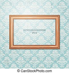 Wooden frame on the wall. Vintage background.