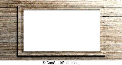 Wooden frame on wooden background. 3d illustration