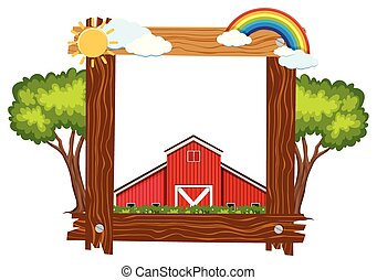 Wooden frame template with red barn