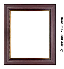 Wooden frame vintage isolated background.