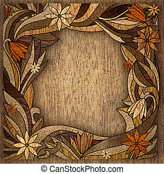 wooden frame with a flowers