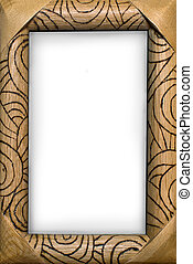 wooden frame with a pattern and a white background