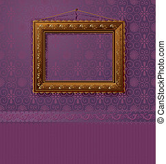 wooden frame with a vintage gold on the wall