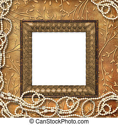 Wooden frame with beads on the leafage ornamental background