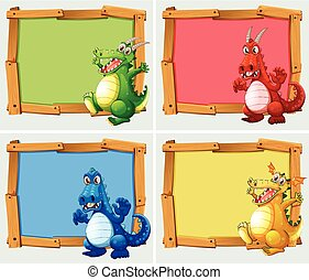 Wooden frame with dragons