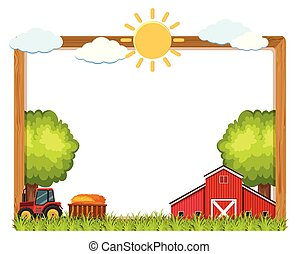 Wooden frame with farm in background