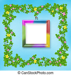 Wooden frame with flower garland on the blue background