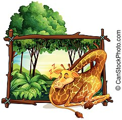 Wooden frame with giraffe in the jungle