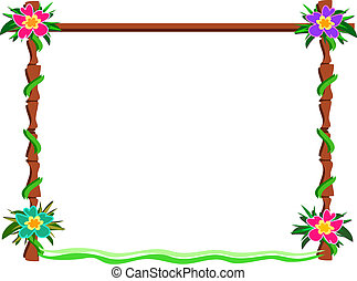 Wooden Frame with Hibiscus Flowers