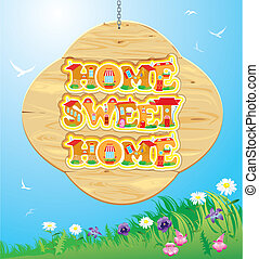 Wooden Frame with Home, sweet home Words on sky background.