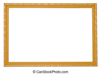 Wooden frame with incrustation on the white background