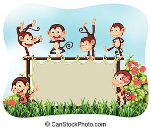 Wooden frame with monkeys