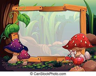 Wooden frame with mushroom background