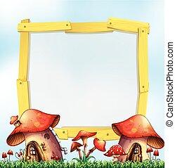 Wooden frame with mushroom houses in garden