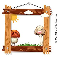 Wooden frame with mushrooms