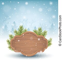 Wooden Frame with Pine Branches in Snow on Blue