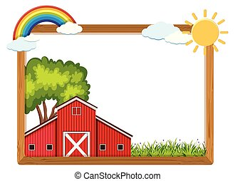 Wooden frame with red barn and rainbow