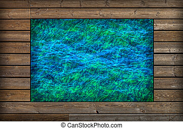 Wooden frame with water