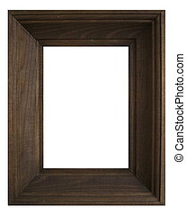 Wooden frame with white background
