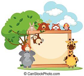 Wooden frame with wild animals in background