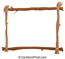 Wooden frame. Hung down wooden frame. a white background